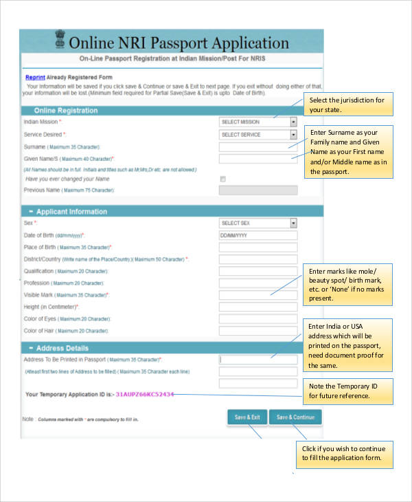 Sample Application Forms in PDF