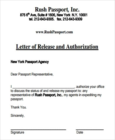Authorization Letter Samples - passport authorization letter