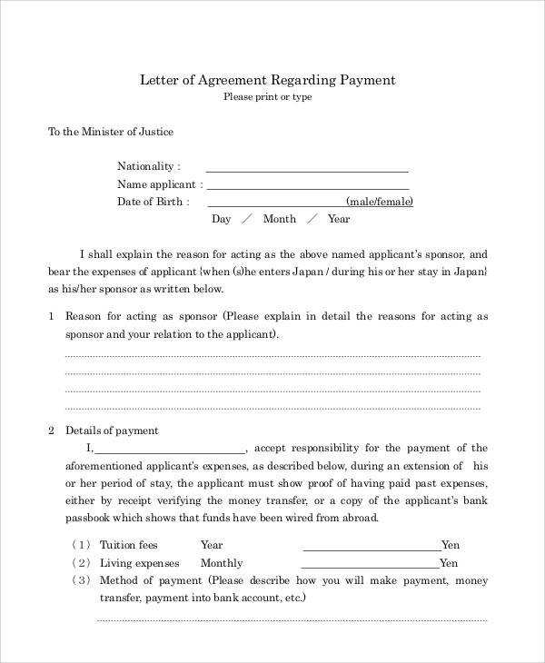 Agreement Letter Examples - agreement letter examples