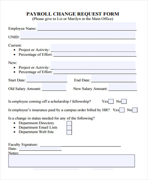 39+ Free Notice Forms - employee change form