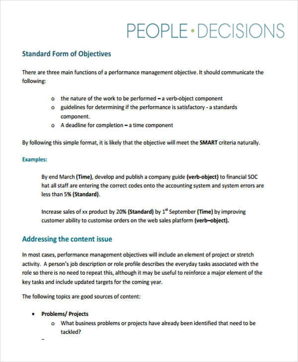 Performance Objectives Example - 6+ Examples in Word, PDF