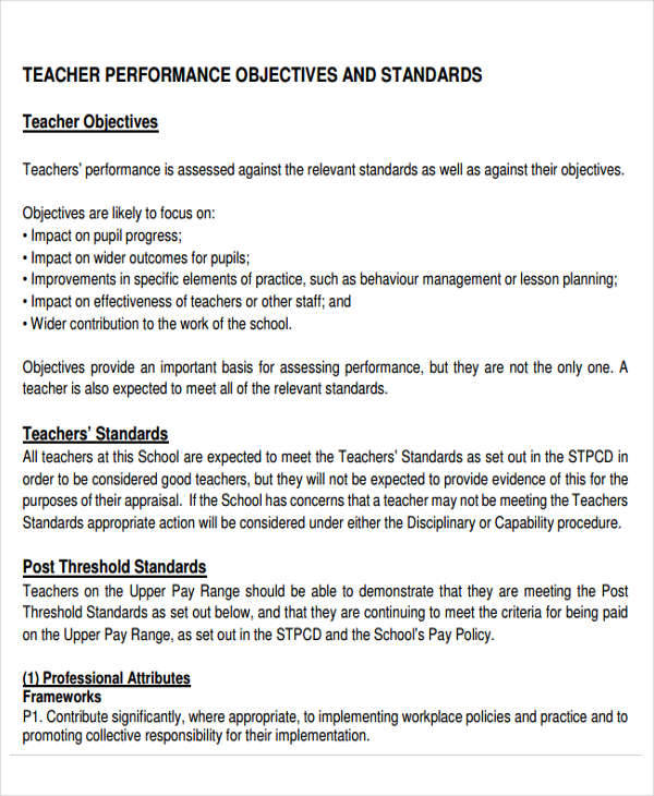 6+ Performance Objectives Examples Sample Templates - objectives for resumes for teachers