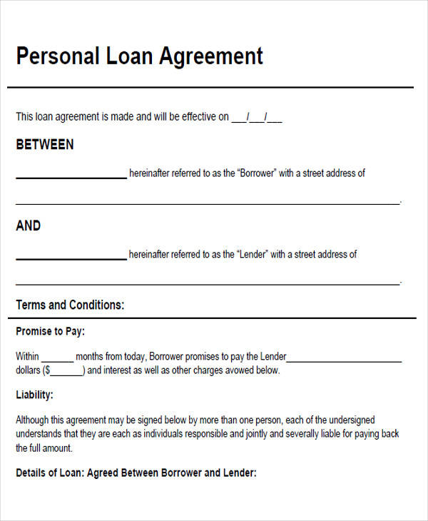Agreement Form Examples Sample Partnership Agreement Form - person to person loan contract