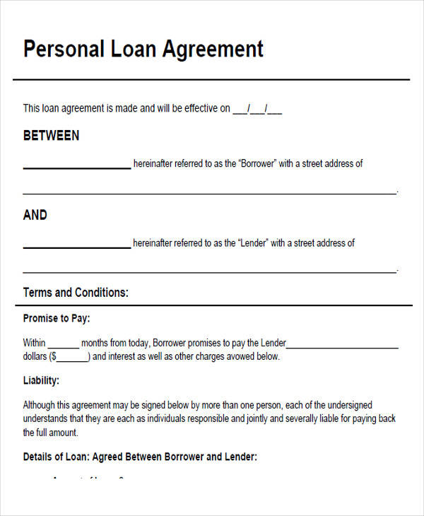 43+ Simple Agreement Forms Sample Templates - Private Loan Agreement Template