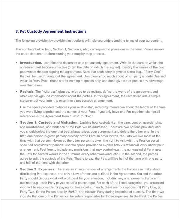 custody agreement templates