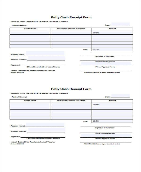 40 Sample Receipt Forms - petty cash receipt template free