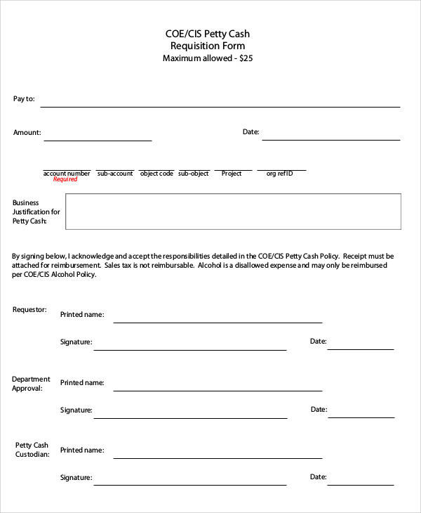 Petty Cash Request Form - petty cash request form