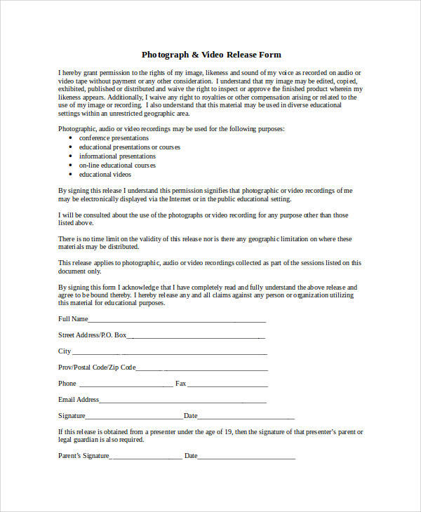 Video Release Form Sample Video Release Form 9 Examples In Pdf Word