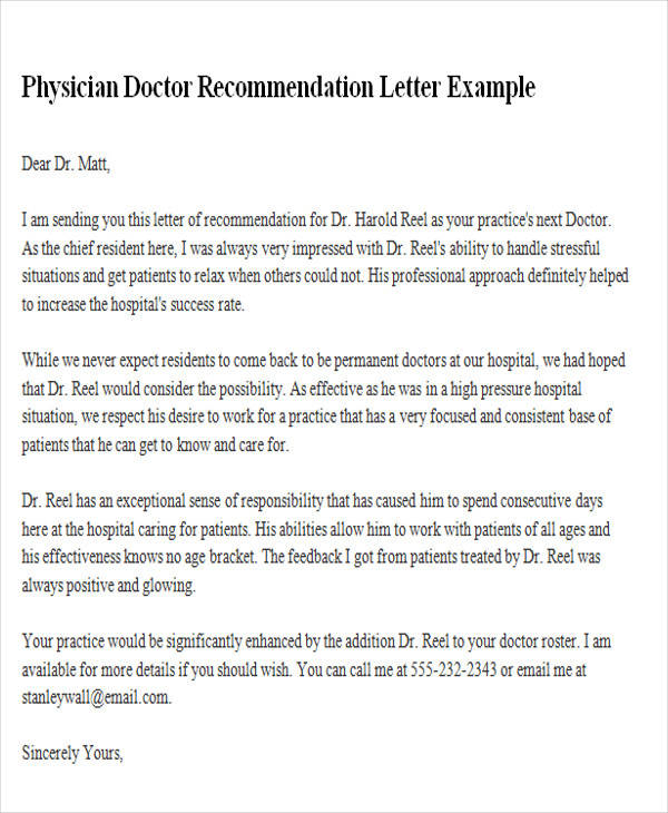 sample letter of recommendation for medical school from a physician