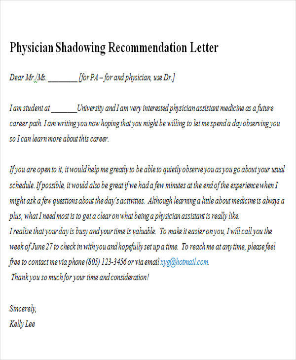 shadowing a doctor letter of recommendation