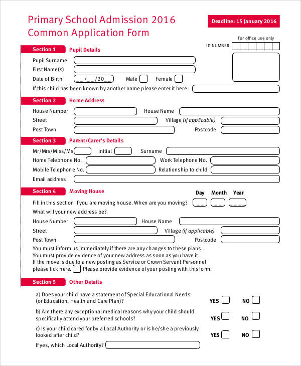 61 Simple Application Forms  Templates Sample Templates - admission forms for schools