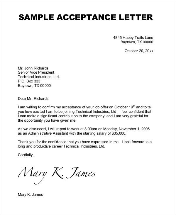 Job Letter Examples Sample Offer Acceptance Letter 9 Download Free - job letter