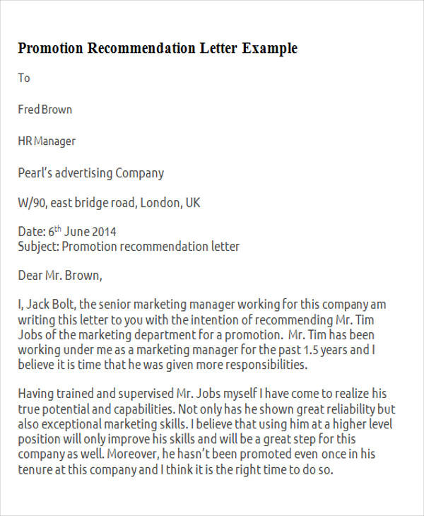 Recommendation Letter For Employee Marketing