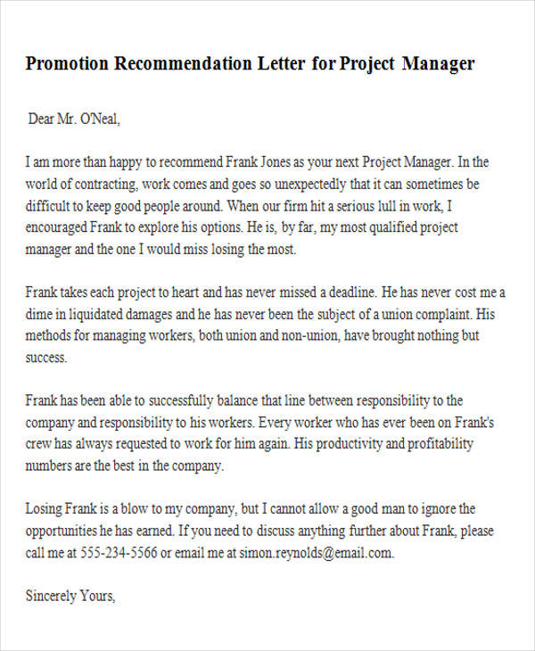 8 Sample Promotion Recommendation Letters Sample Templates - project manager recommendation sample
