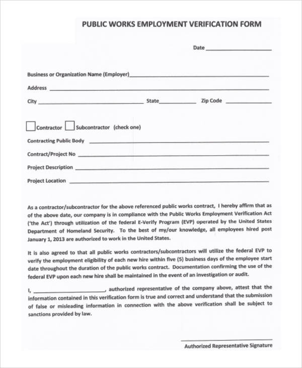 50+ Sample Verification Forms Sample Templates - employment verification form