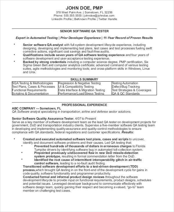 quality assurance analyst resume sample
