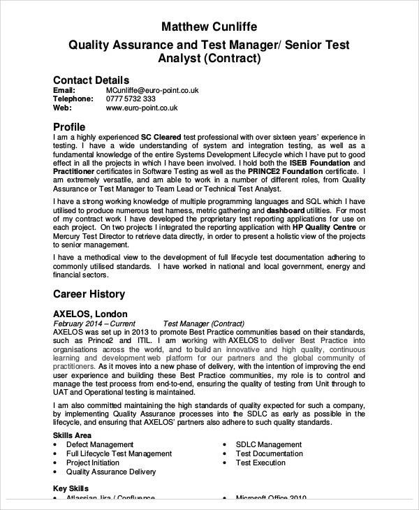 9+ Sample Quality Assurance Resumes Sample Templates - test manager resume
