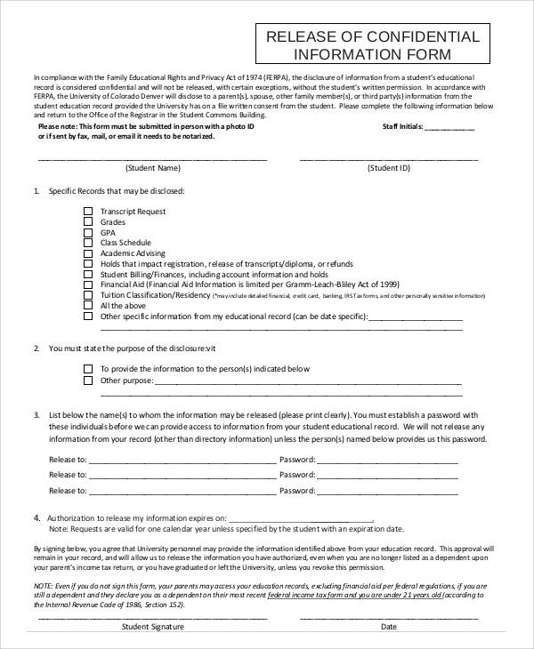 47+ Printable Release Form Samples  Templates - PDF, DOC