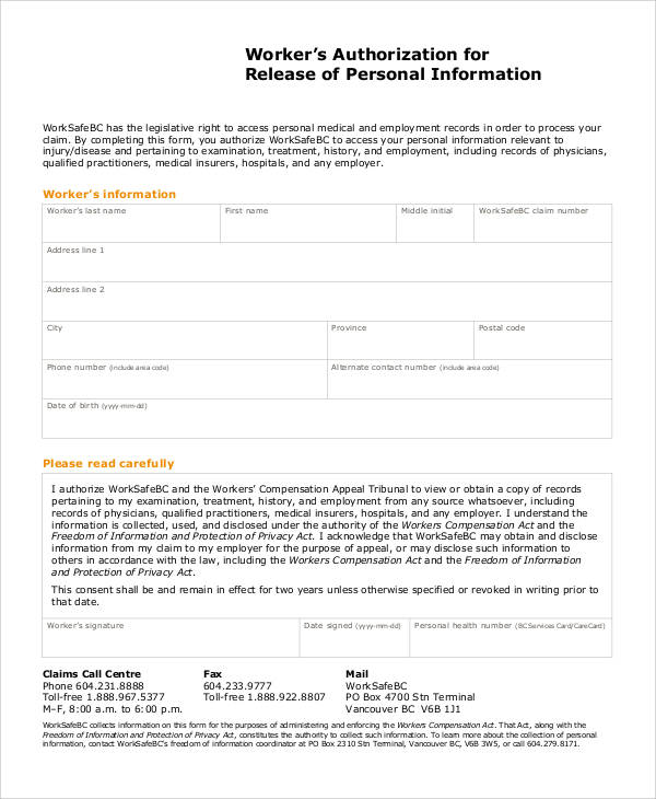48 Printable Release Form Samples  Templates Sample Templates