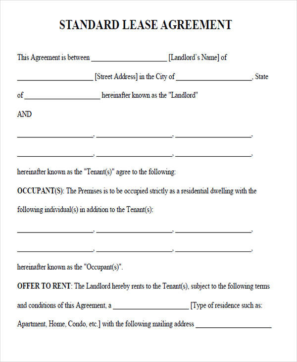 Rental Lease Agreement Forms sample rental lease template - rental lease agreement