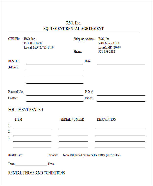 Doc#460595 Equipment Rental Contract Sample u2013 Equipment Lease - sample equipment rental agreement