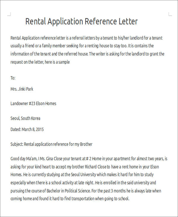 Sample Rental Reference Letter - 8+ Examples in PDF, Word