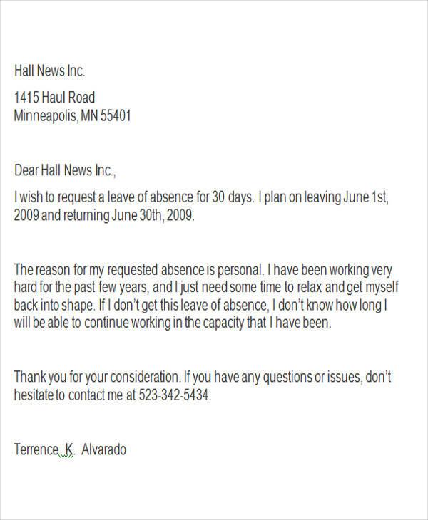42+ Leave Letter Samples \u2013 PDF, Word, Apple Pages Sample Templates - leave of absence letter