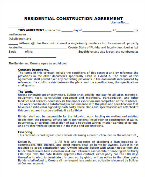 Residential Construction Contract Template Choice Image - Template - construction contract forms
