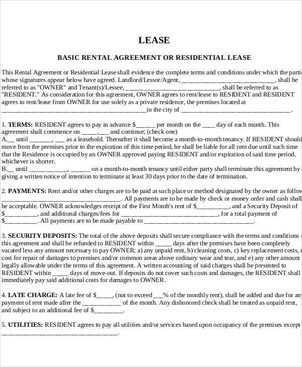 Printable Agreement Samples - printable lease agreement sample