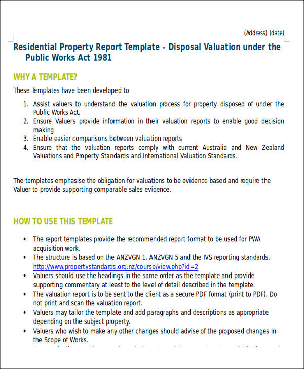 Sample Property Valuation Report - 5+ Examples in Word, PDF