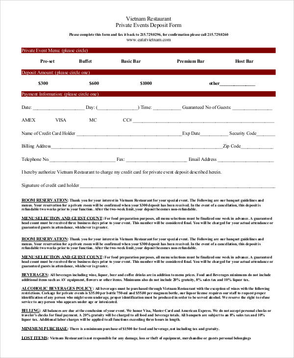 Nice Restaurant Reservation Form Template Pattern - Resume Ideas