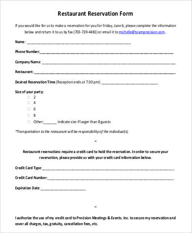reservation form template - Ozilalmanoof - free reservation forms
