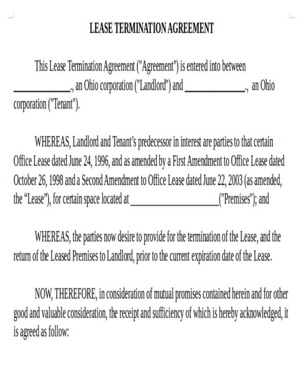 Sample Lease Termination Agreement Template Road Commercial Lease - lease termination form