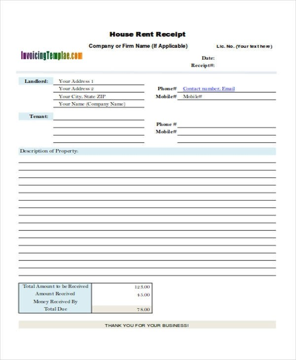 room rent receipt format pdf - Militarybralicious - house rent receipt form