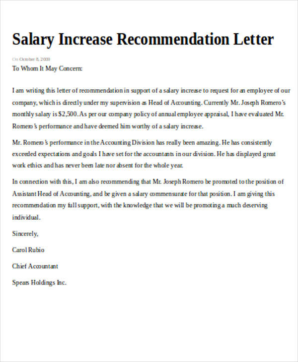 Sample Recommendation Request Letter - 7+ Examples in Word, PDF - how to write salary increment letter