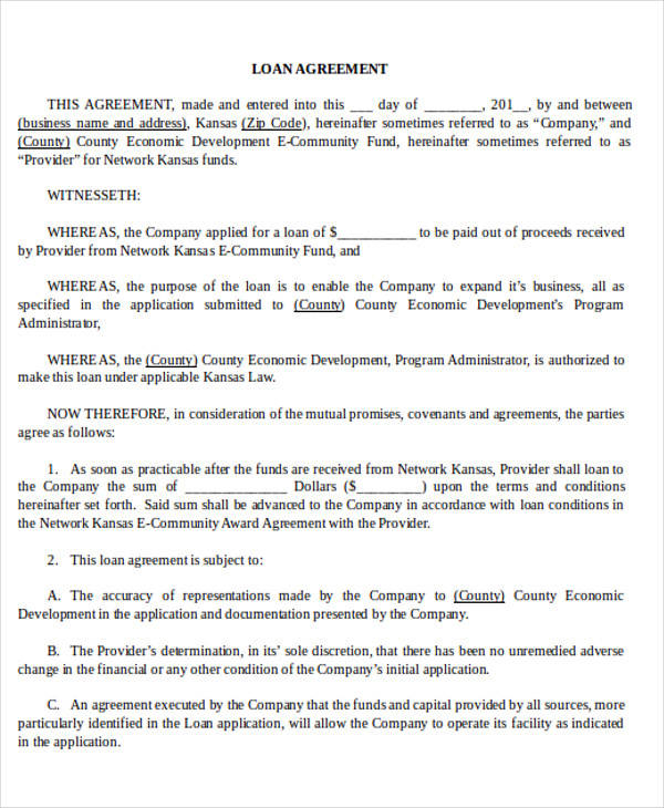 28+ Business Agreement Forms Sample Templates - company loan agreement template