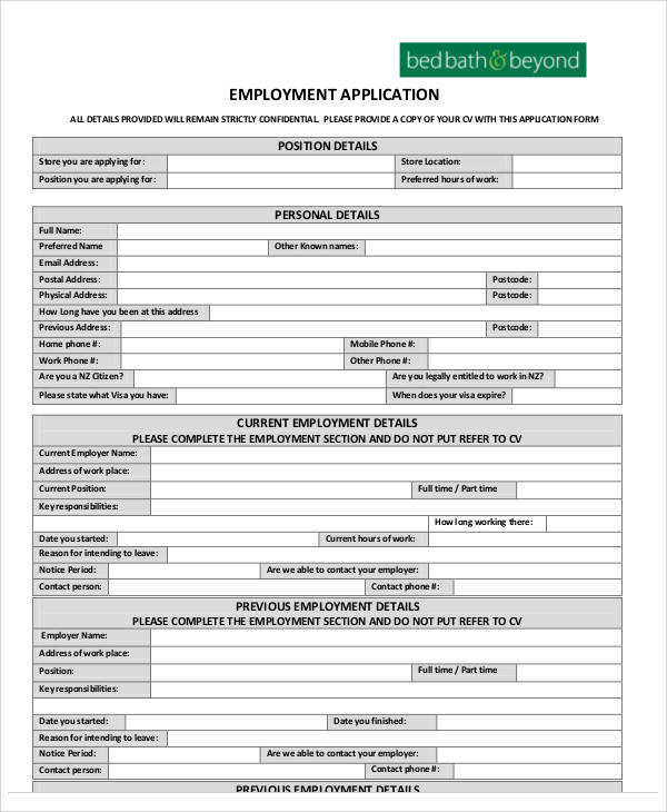 printable application free target job application form for pdf – Sample Employment Application Forms