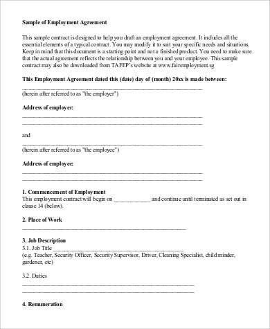 52+ Employment Agreement Samples - Word, PDF