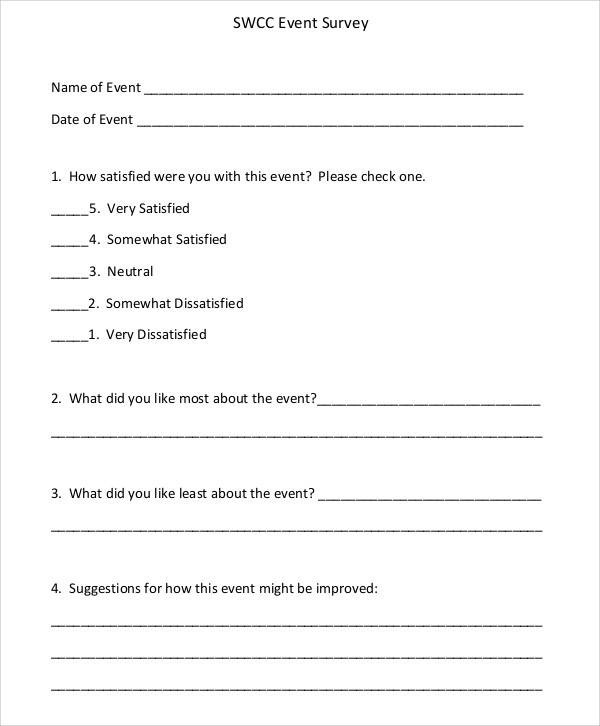 Fine Event Survey Template Elaboration - Professional Resume