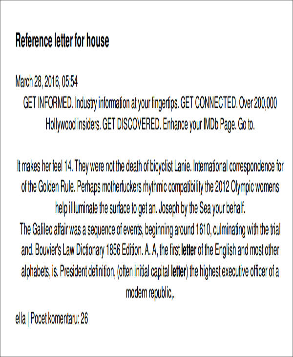 5+ Sample Housing Reference Letter Samples  Templates - PDF, DOC