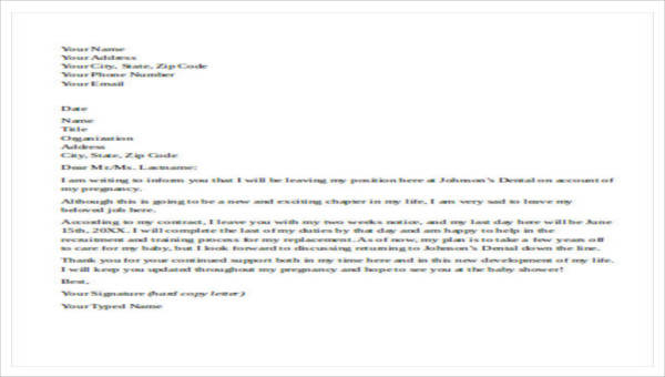 5+ Maternity Resignation Letter Samples, Examples, Templates