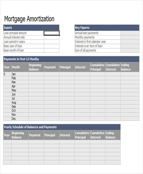 Mortgage Amortization Spreadsheet Sample - 6+ Examples in Word, PDF