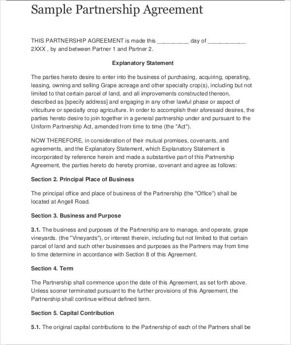 Business Agreement Sample - sample business agreements