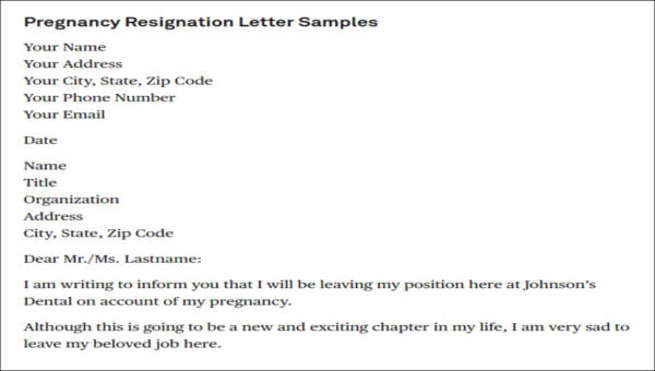 5+ Sample Pregnancy Resignation Letters Sample Templates