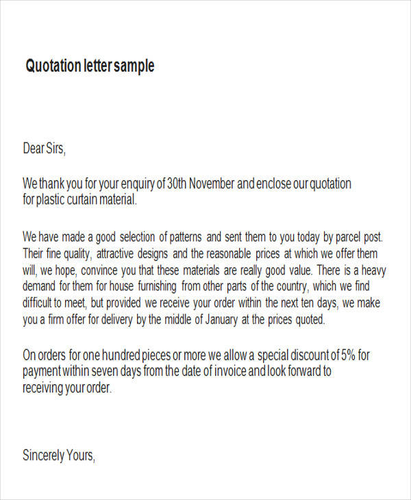 9+ Sample Quotation Letters in Doc Sample Templates - Price Quotation Format