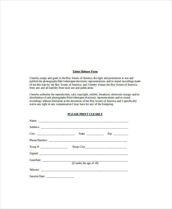 26+ Sample Release Forms in Word Sample Templates - sample talent release form