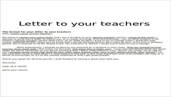 11+ Sample Teacher Thank You Letters - Free Sample, Example, Format