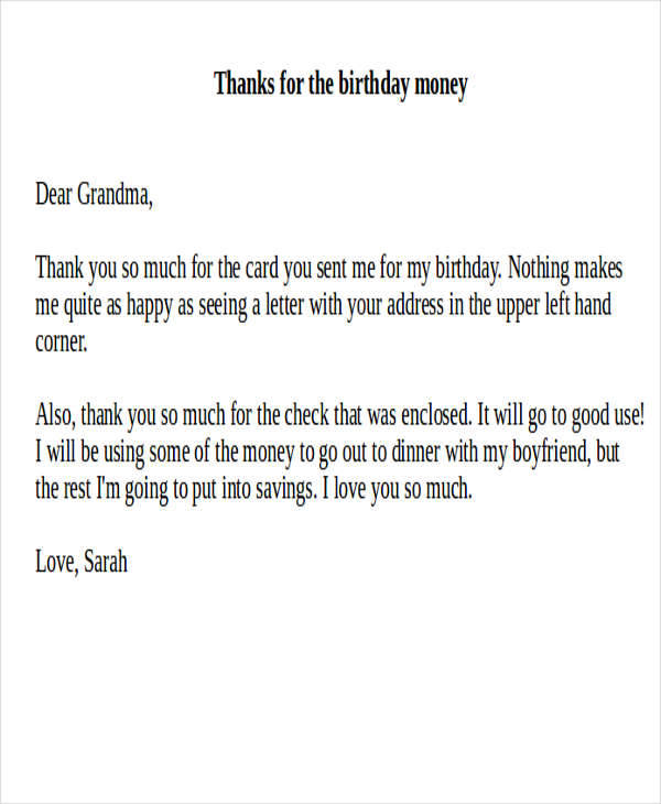 7+ Sample Thank-You Notes for Money Sample Templates