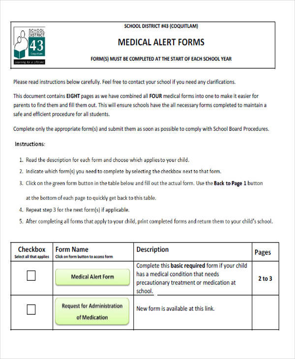 45+ Free Medical Forms Sample Templates - School Medical Form