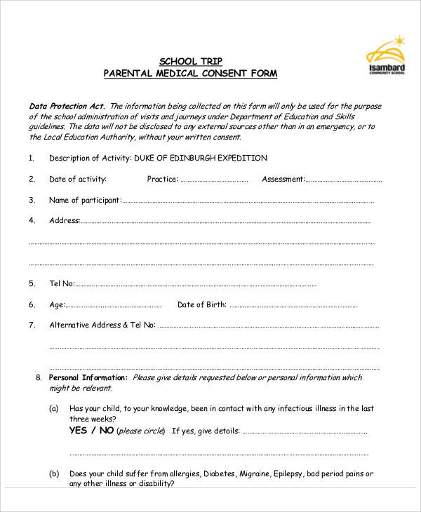 Child Medical Consent Forms School Medical Consent Form Sample